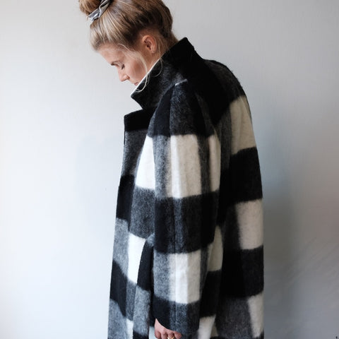Long Wrap Coat, Buffalo Check