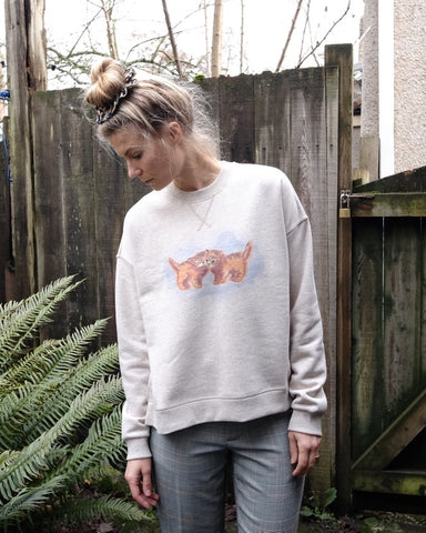 Drop Shoulder Cats Sweatshirt