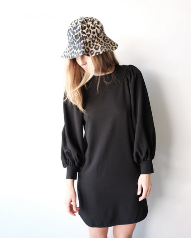 Balloon Sleeve Dress, Black Crepe