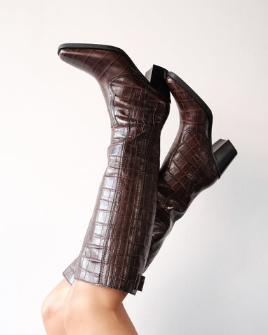 Callie Knee High Boots, Brown Crocodile Leather