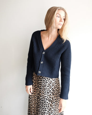 Ribbed Cardigan, Sky Captain