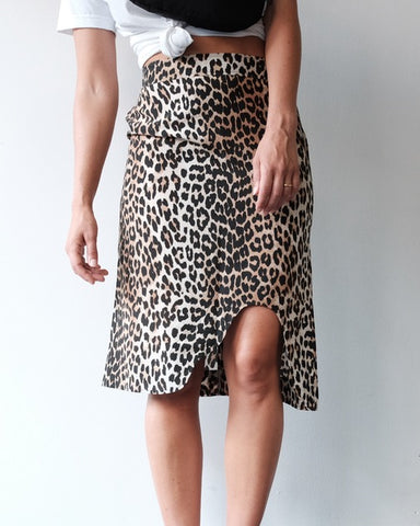 Leopard Silk Mix Skirt