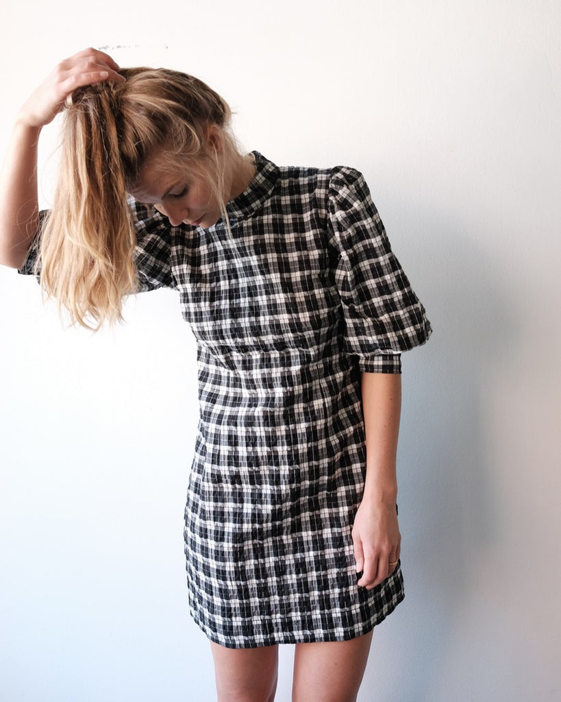 Seersucker Check Mini Dress Nouvelle Nouvelle