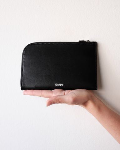 Textured Leather Wallet, Black