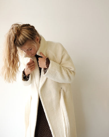 Boucle Long Wrap Coat, Cream