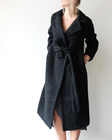 Boucle Long Wrap Coat, Black