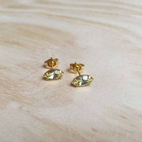 Navette Jonquil Crystal Studs, gold plated