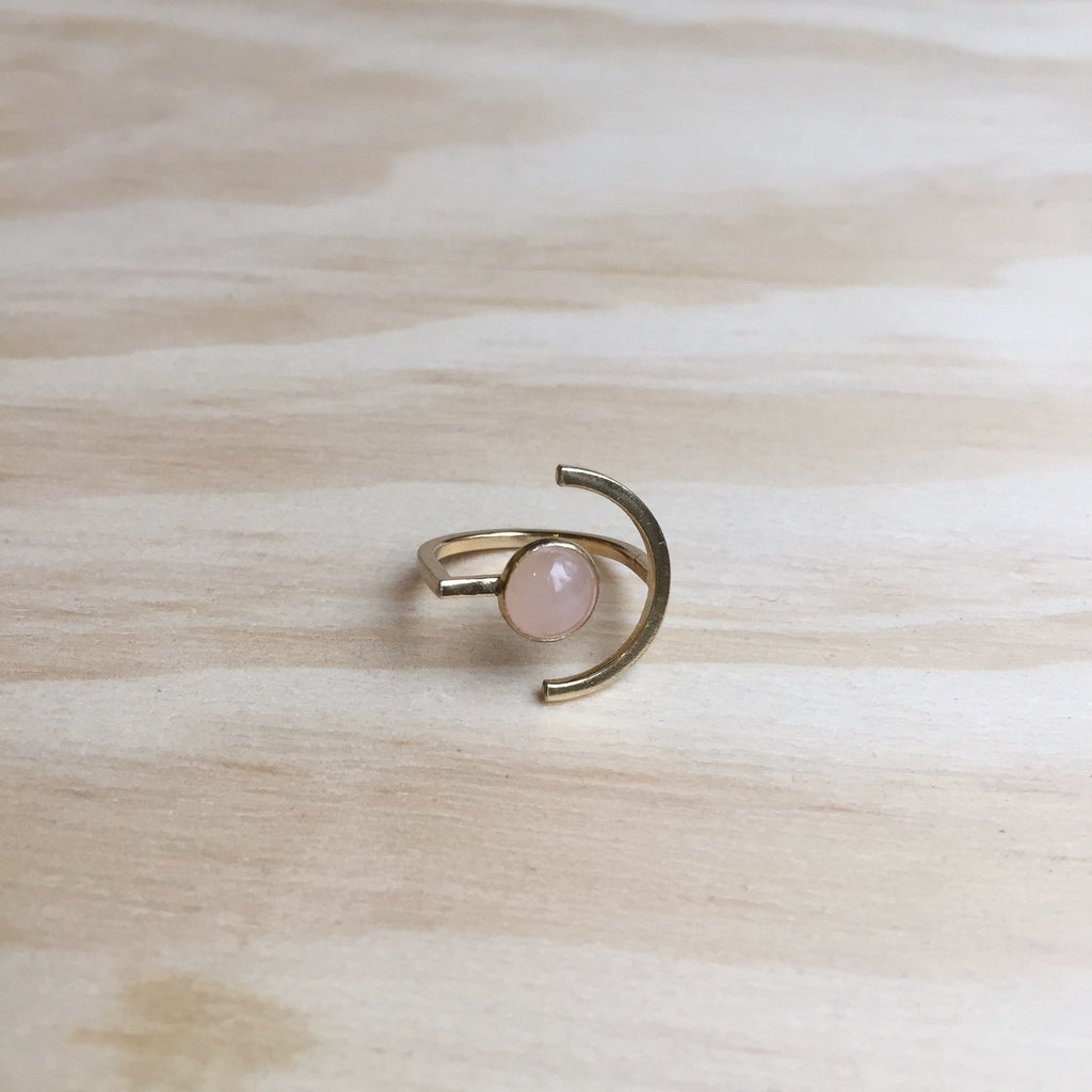 Here and There Ring, Rose Quartz