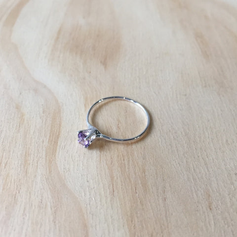 Amethyst Princess Ring, Sterling Silver