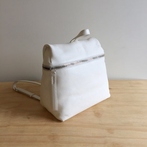 KARA Leather Backpack, Off White Pebble Leather