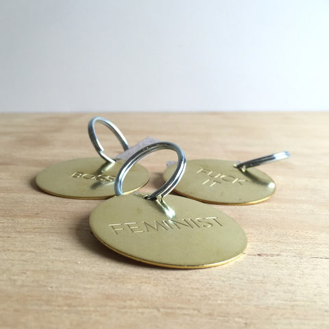 Hand Pressed Brass Key Tags, Large