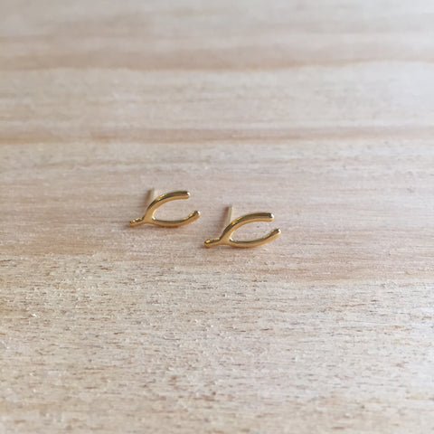 Wishbone Studs, gold plated
