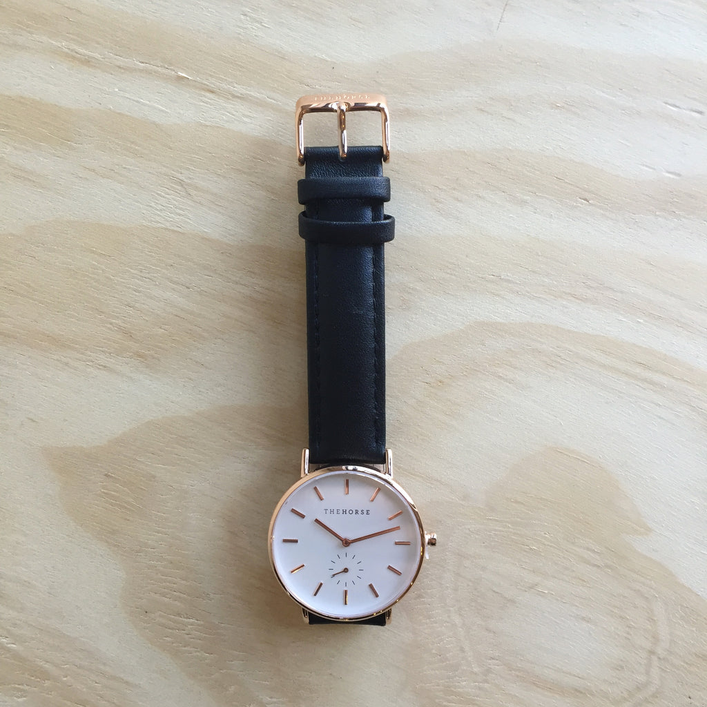 THE HORSE The Classic Polished Rose Gold w Black Leather