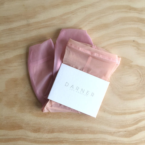 Darner Socks, Nude and Pink Mesh