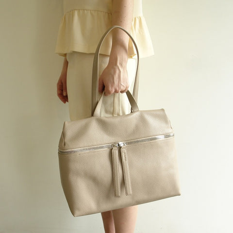 KARA Leather Satchel, Camel Pebble Leather