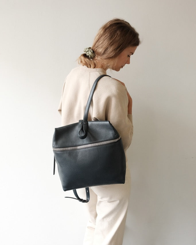 KARA Backpack, Cement Pebble Leather