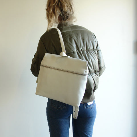 KARA Backpack, Off White Pebble Leather