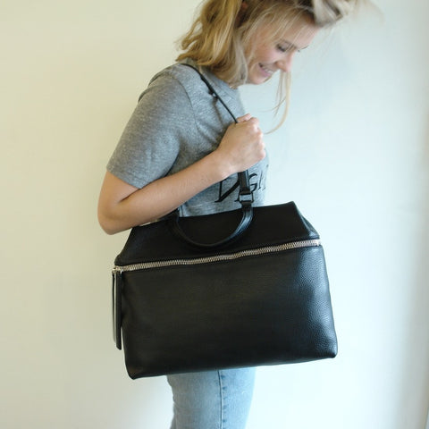 KARA Leather Satchel, Black Pebble Leather