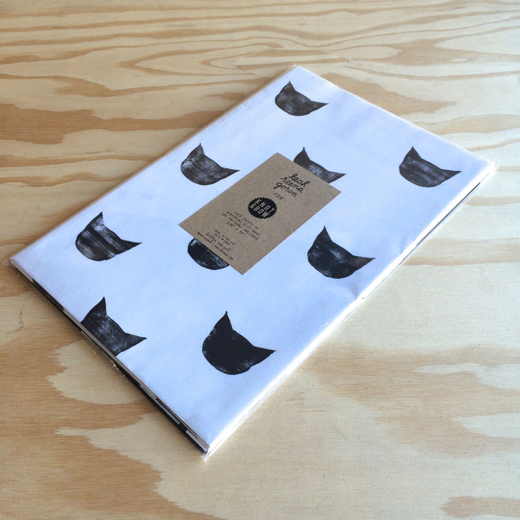 Newsprint Giftwrap, Black Cats