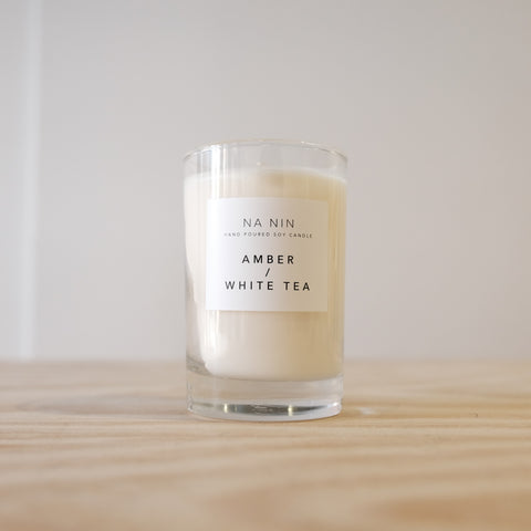 Amber White Tea Candle