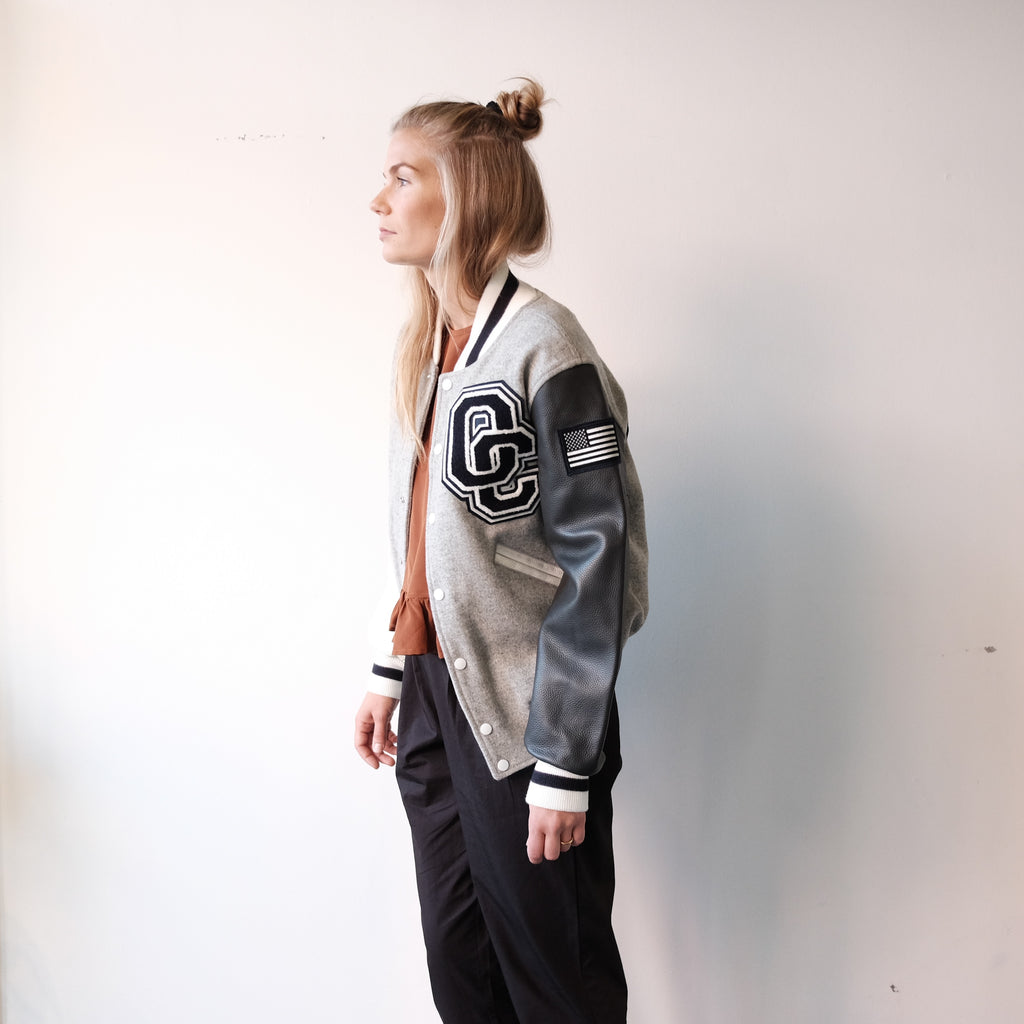 Opening Ceremony Varsity Jacket, Grey