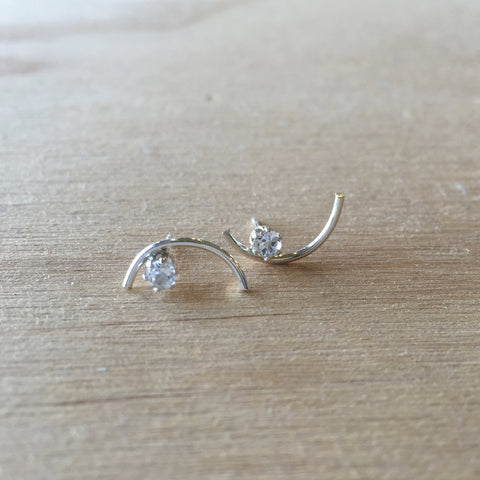 Bow Earrings White Topaz