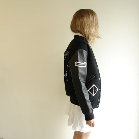 Opening Ceremony Tonal Varsity Jacket, Black Leather