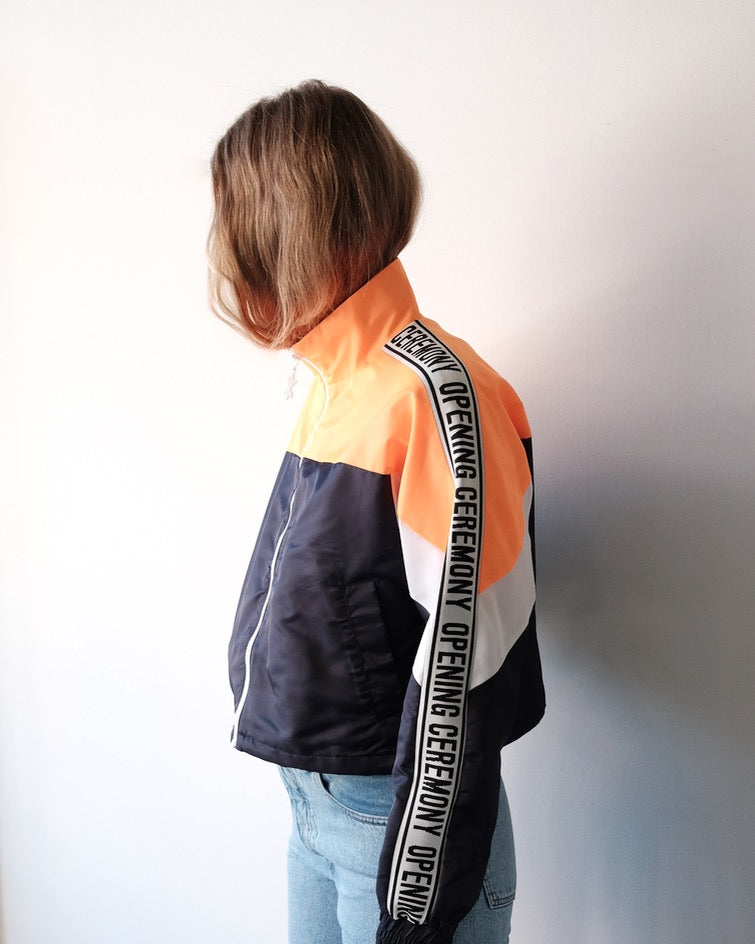Cropped Nylon Warm Up Jacket