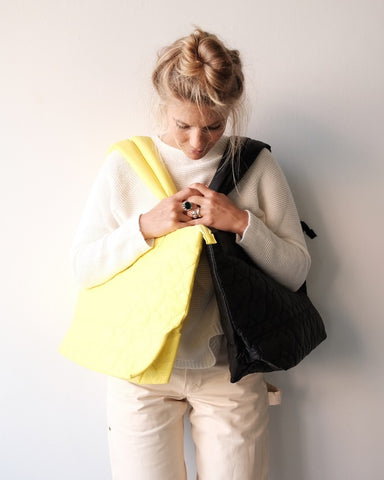 Quilted Chinatown Tote, Yellow
