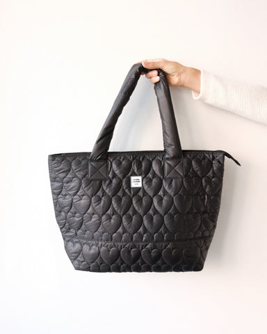 Quilted Chinatown Tote, Black