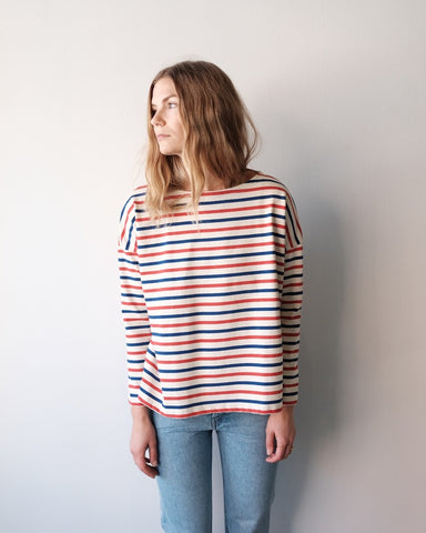 Oversize Mariniere Shirt, Ecru Blue Red