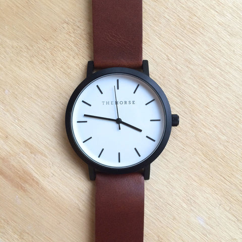 THE HORSE Original MATTE BLACK CASE/WHITE FACE/TAN BAND WATCH