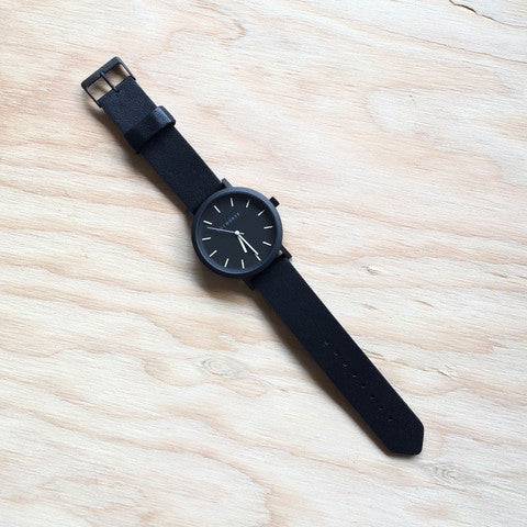 THE HORSE Original BLACK w BLACK LEATHER WATCH