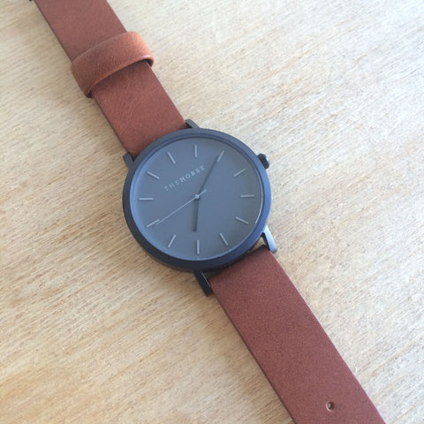 THE HORSE Original MATTE BLACK/TAN BAND WATCH