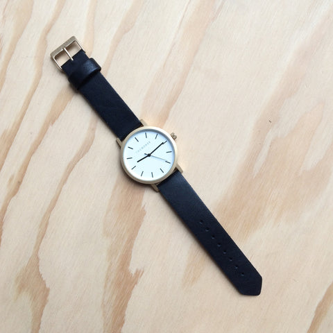 THE HORSE Original Brushed Gold w Black Leather Watch
