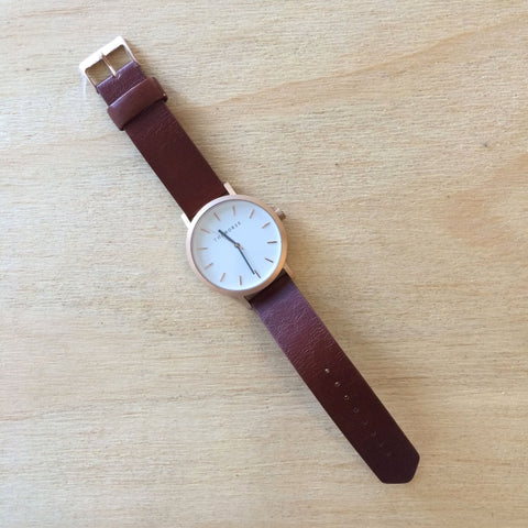 THE HORSE Original BRUSHED ROSE GOLD w WALNUT LEATHER WATCH