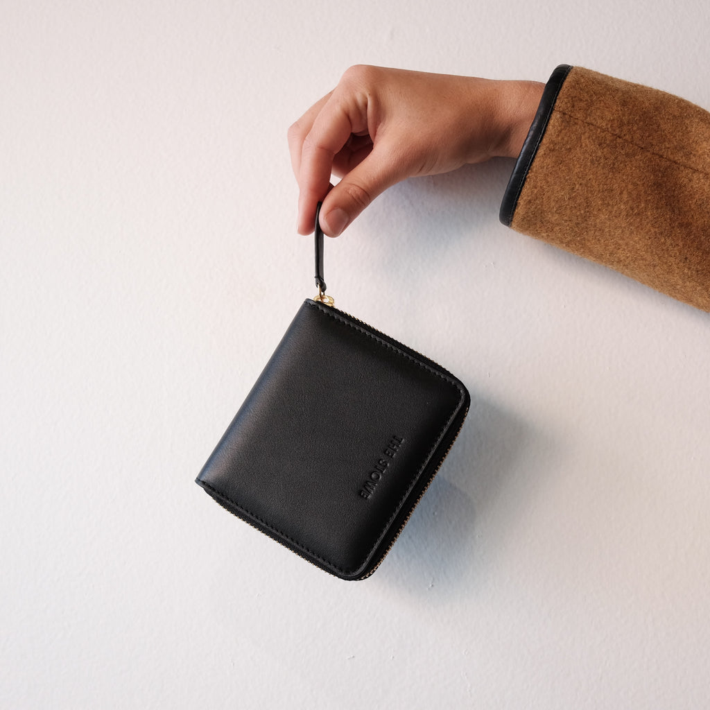 Square Wallet, Black Nappa Leather