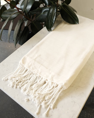 Turkish Cotton Blanket, Ivory