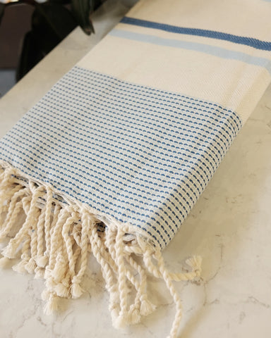 Turkish Beach Towel, Blue Stripe