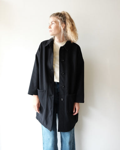 VETRA Melton Navy Long Coat