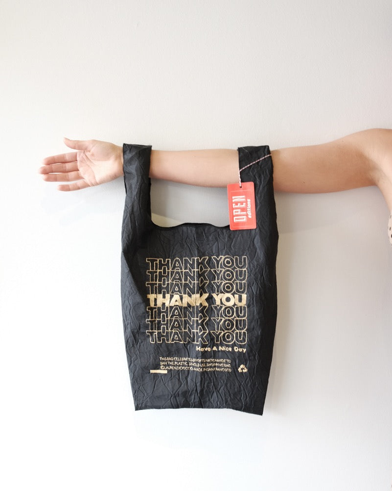 Thank You Tote, Black Taffeta Gold