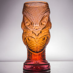 Head Hunter Glass Tiki Mug, 20 oz. - lava red