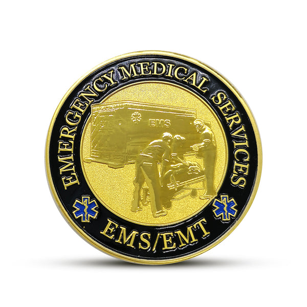 Paramedic/ EMT Emergency Services Star of Life Challenge Coin In