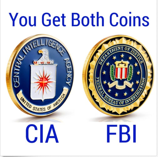 2pcs Lot FBI And CIA Challenge Coins