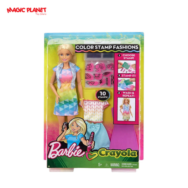 NEW Barbie Crayola Color Stamp Fashions Set - Blonde