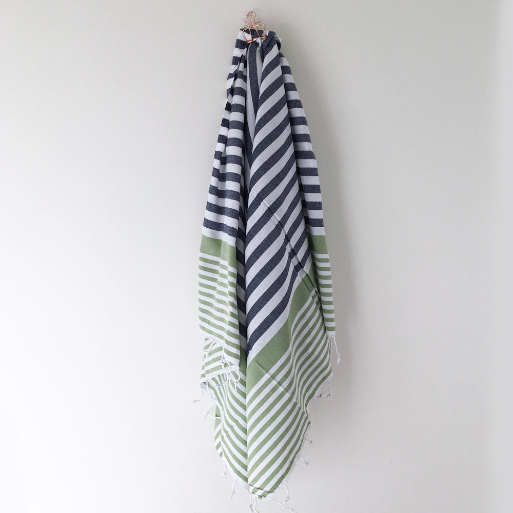 Sofia Turkish Towel Navy Olive