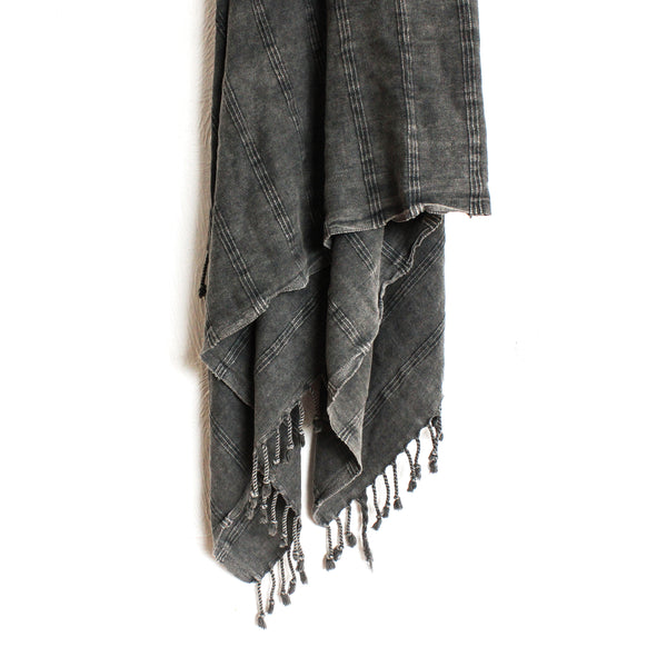 Stonewashed Turkish Towel Charcoal - BACK SOON