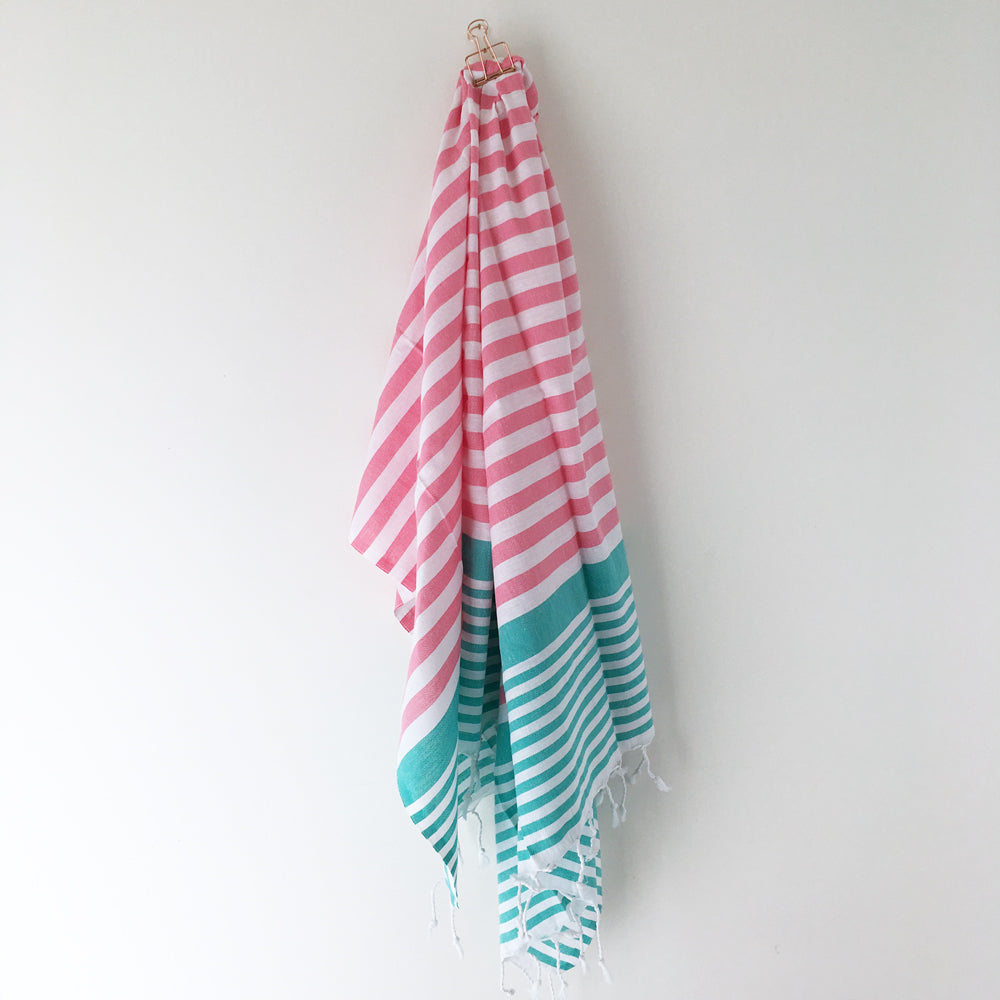 Sofia Turkish Towel Pink Turquoise