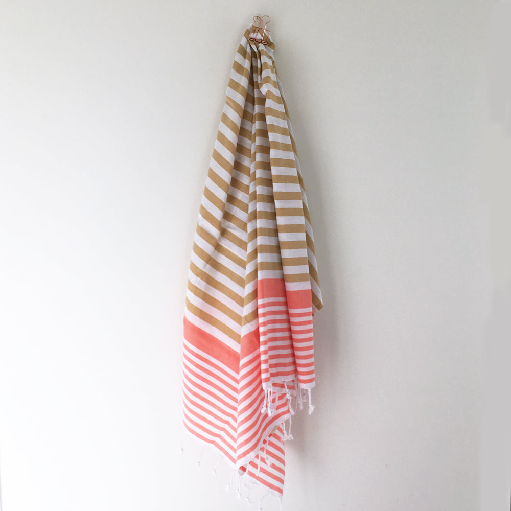 Sofia Turkish Towel Mustard Coral