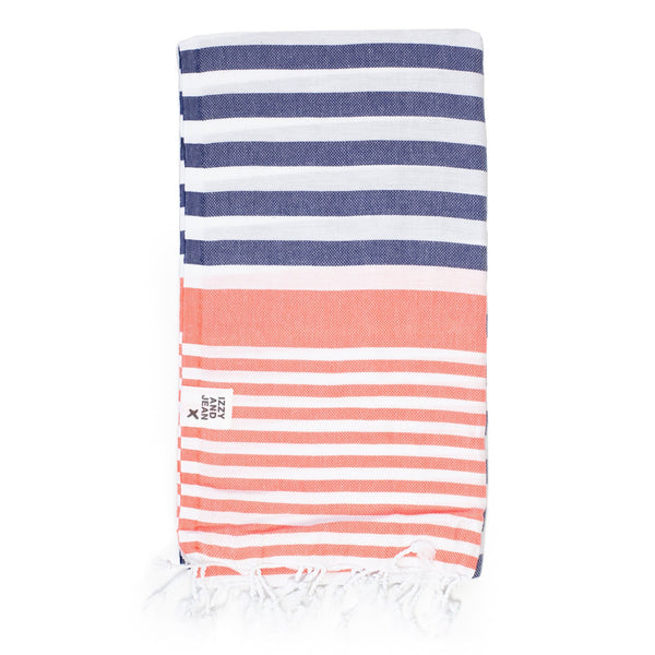 Sofia Turkish Towel Navy Coral